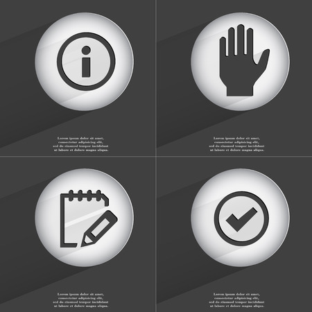 accelerated: Information, Hand, Notebook, Tick icon sign. Set of buttons with a flat design. Vector illustration
