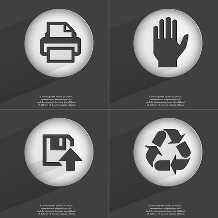 accelerated: Printer, Hand, Floppy disk upload, Recycling icon sign. Set of buttons with a flat design. Vector illustration