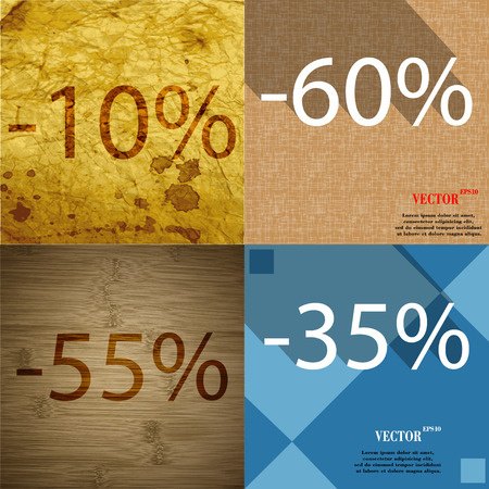 55 60: 60, 55, 35 icon. Set of percent discount on abstract backgrounds. Vector illustration Stock Photo