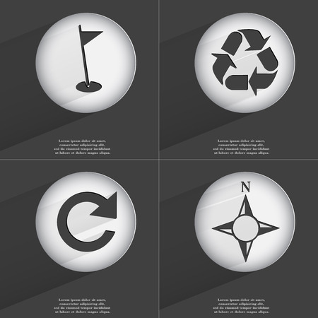 application recycle: Golf hole, Recycling, Reload, Compass icon sign. Set of buttons with a flat design. Vector illustration Stock Photo