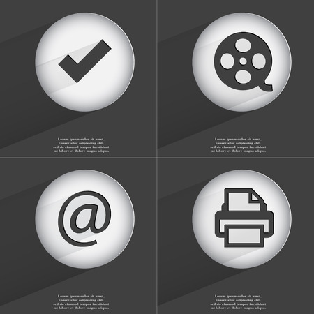 videotape: Tick, Videotape, Mail, Printer icon sign. Set of buttons with a flat design. Vector illustration