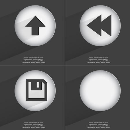 accelerated: Arrow directed upwards, Rewind, Floppy disk icon sign. Set of buttons with a flat design. Vector illustration