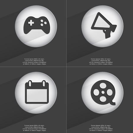 videotape: Gamepad, Megaphone, Calendar, Videotape icon sign. Set of buttons with a flat design. Vector illustration