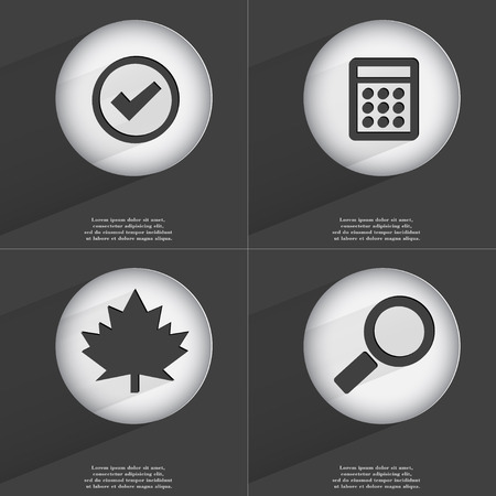 accelerated: Tick, Calculator, Maple leaf, Magnifying glass icon sign. Set of buttons with a flat design. Vector illustration Stock Photo