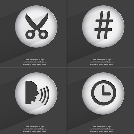 accelerated: Scissors, Hashtag, Talk, Clock icon sign. Set of buttons with a flat design. Vector illustration