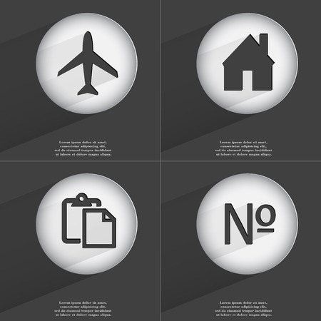 accelerated: Airplane, House, Tasklist, Number icon sign. Set of buttons with a flat design. Vector illustration