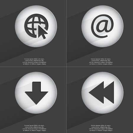 directed: Web with cursor, Mail, Arrow directed down, Rewind icon sign. Set of buttons with a flat design. Vector illustration