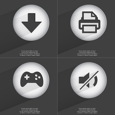 directed: Arrow directed down, Printer, Gamepad, Mute icon sign. Set of buttons with a flat design. Vector illustration