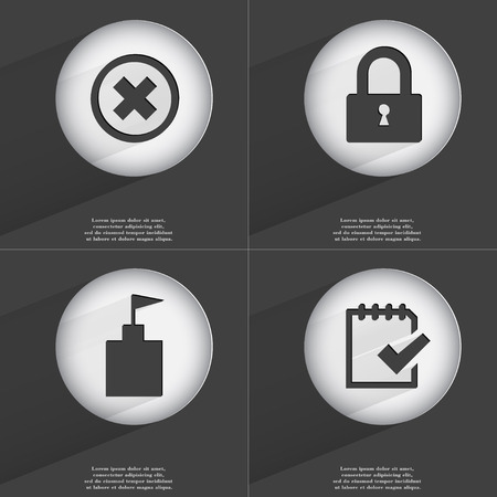 accelerated: Stop, Lock, Flag tower, Task completed icon sign. Set of buttons with a flat design. Vector illustration