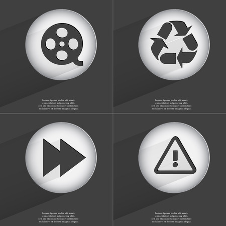 accelerated: Videotape, Recycling, Rewind, Warning icon sign. Set of buttons with a flat design. Vector illustration