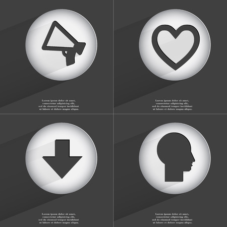 directed: Megaphone, Heart, Arrow directed down, Silhouette icon sign. Set of buttons with a flat design. Vector illustration