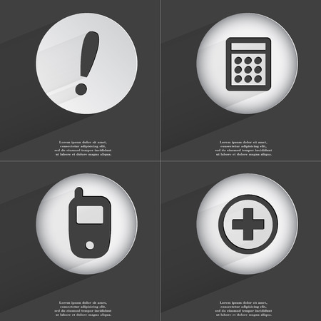 accelerated: Exclamation mark, Calculator, Mobile phone, Plus icon sign. Set of buttons with a flat design. Vector illustration Stock Photo