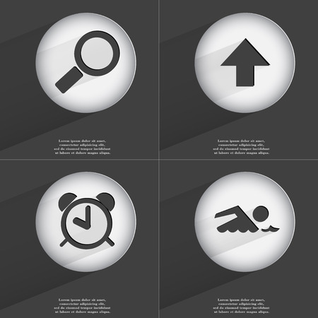 directed: Magnifying glass, Arrow directed upwads, Alarm clock, Swimmer icon sign. Set of buttons with a flat design. Vector illustration