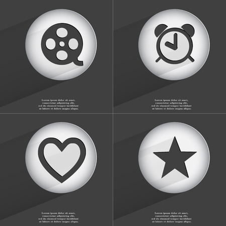 videotape: Videotape, Alarm clock, Heart, Star icon sign. Set of buttons with a flat design. Vector illustration Stock Photo