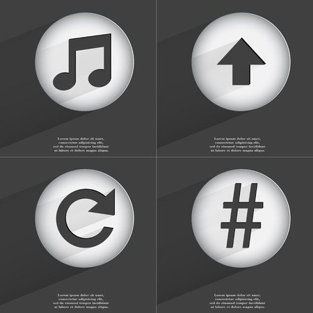 directed: Note, Arrow directed upwards, Reload, Hashtag icon sign. Set of buttons with a flat design. Vector illustration
