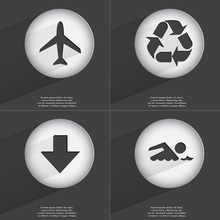directed: Airplane, Recycling, Arrow directed down, Swimmer icon sign. Set of buttons with a flat design. Vector illustration Stock Photo
