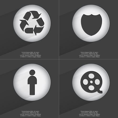 videotape: Recycling, Badge, Silhouette, Videotape icon sign. Set of buttons with a flat design. Vector illustration