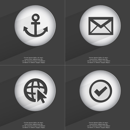 accelerated: Anchor, Message, Web with cursor, Tick icon sign. Set of buttons with a flat design. Vector illustration