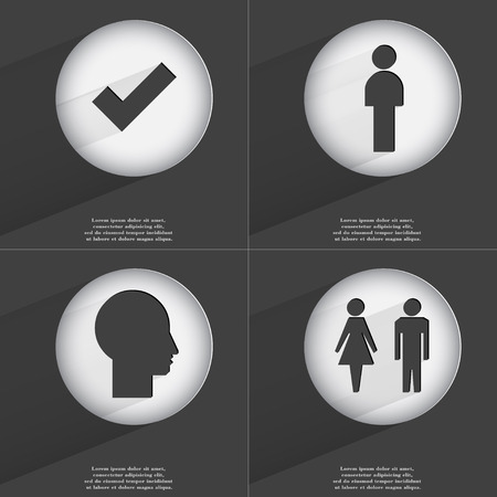 accelerated: Tick, Silhouette of man and woman icon sign. Set of buttons with a flat design. Vector illustration