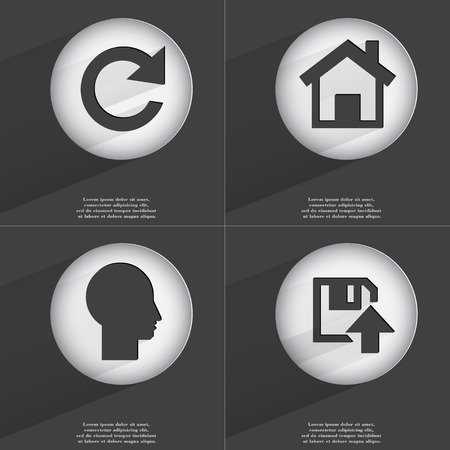 accelerated: Reload, House, Silhouette, Floppy disk upload icon sign. Set of buttons with a flat design. Vector illustration