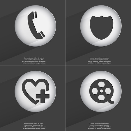 videotape: Receiver, Badge, Heart with plus, Videotape icon sign. Set of buttons with a flat design. Vector illustration Stock Photo