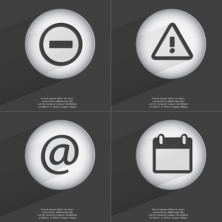 accelerated: Minus, Warning, Mail, Calendar icon sign. Set of buttons with a flat design. Vector illustration
