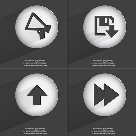 directed: Megaphone, Floppy dsik download, Arrow directed upwards, Rewind icon sign. Set of buttons with a flat design. Vector illustration Stock Photo