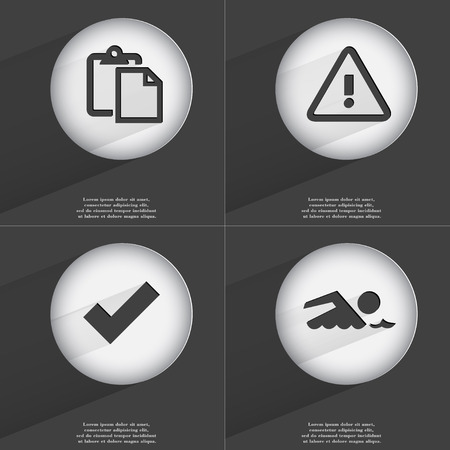 accelerated: Tasklist, Warning, Tick, Swimmer icon sign. Set of buttons with a flat design. Vector illustration