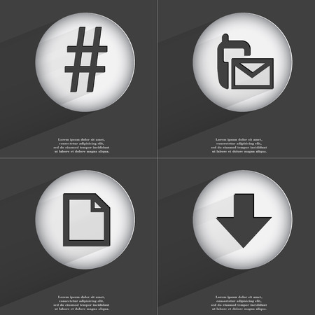 directed: Hashtag, SMS, File, Arrow directed down icon sign. Set of buttons with a flat design. Vector illustration Stock Photo