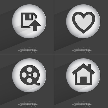 videotape: Floppy disk upload, Heart. Videotape, House icon sign. Set of buttons with a flat design. Vector illustration Stock Photo