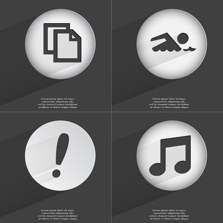note of exclamation: Copiar, nadador, Signo de exclamaci�n, Nota icono de signo. Conjunto de botones con un dise�o plano. Ilustraci�n vectorial