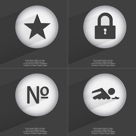 number lock: Star, Lock, Number, Swimmer icon sign. Set of buttons with a flat design. Vector illustration Stock Photo