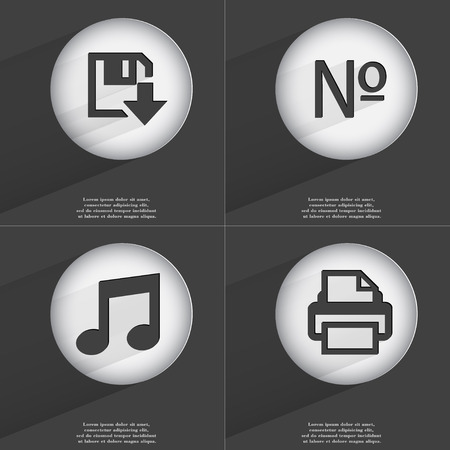 accelerated: Floppy disk download, Number, Note, Printer icon sign. Set of buttons with a flat design. Vector illustration