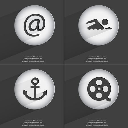 videotape: Mail, Swimmer, Anchor, Videotape icon sign. Set of buttons with a flat design. Vector illustration