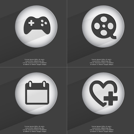 videotape: Gamepad, Videotape, Calendar, Heart with plus icon sign. Set of buttons with a flat design. Vector illustration Stock Photo