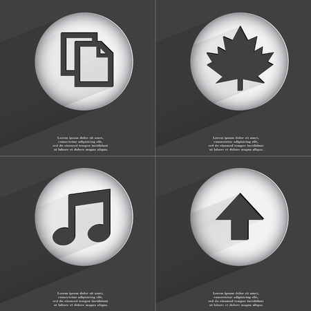 directed: Copy, Maple leaf, Note, Arrow directed down icon sign. Set of buttons with a flat design. Vector illustration
