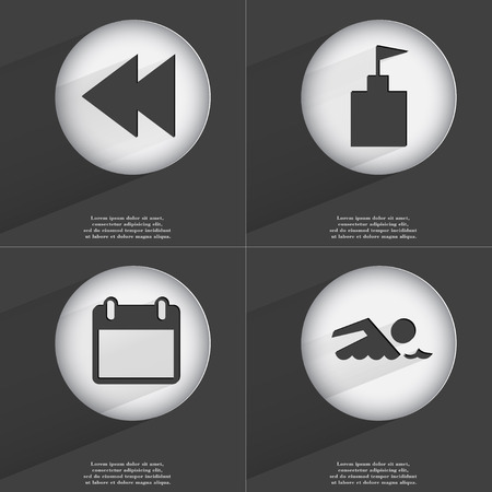 accelerated: Rewind, Flag tower, Calendar, Swimmer icon sign. Set of buttons with a flat design. Vector illustration