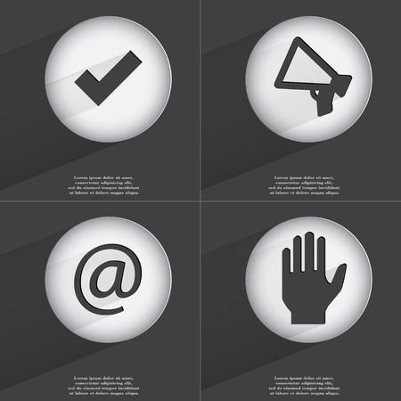 accelerated: Tick, Megaphone, Mail, Hand icon sign. Set of buttons with a flat design. Vector illustration