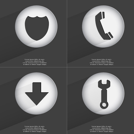 directed: Badge, Receiver, Arrow directed down, Wrench icon sign. Set of buttons with a flat design. Vector illustration Stock Photo