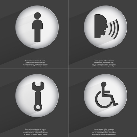 accelerated: Silhouette, Talk, Wrench, Disabled person icon sign. Set of buttons with a flat design. Vector illustration
