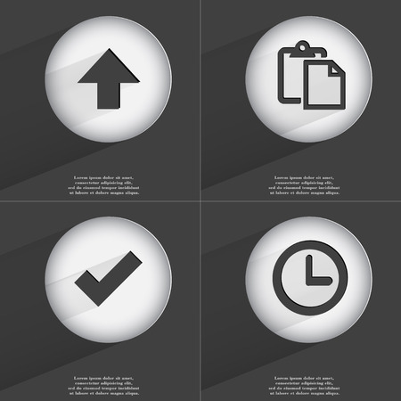 accelerated: Arrow directed upwards, Tasklist, Tick, Clock icon sign. Set of buttons with a flat design. Vector illustration