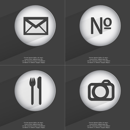 accelerated: Message, Number, Fork and knife, Camera icon sign. Set of buttons with a flat design. Vector illustration
