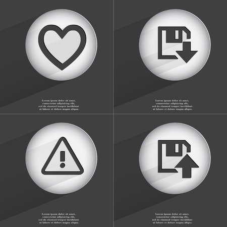 accelerated: Heart, Floppy disk download, Warning, Upload icon sign. Set of buttons with a flat design. Vector illustration