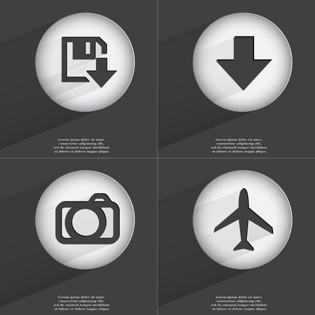 directed: Floppy disk download, Arrow directed down, Camera, Airplane icon sign. Set of buttons with a flat design. Vector illustration