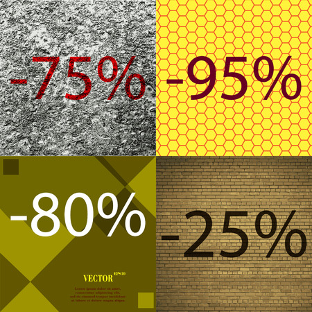 95: 95, 80, 25 icon. Set of percent discount on abstract backgrounds. Vector illustration
