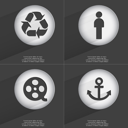 videotape: Recycling, Silhouette, Videotape, Anchor icon sign. Set of buttons with a flat design. Vector illustration