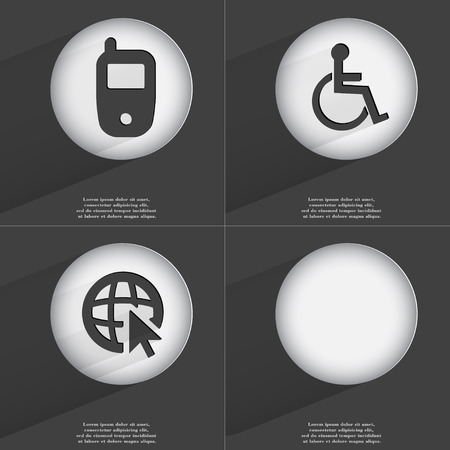accelerated: Mobile phone, Disabled person, Web with cursor icon sign. Set of buttons with a flat design. Vector illustration