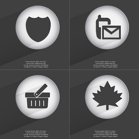 maple leaf icon: Badge, SMS, Basket, Maple leaf icon sign. Set of buttons with a flat design. Vector illustration Stock Photo