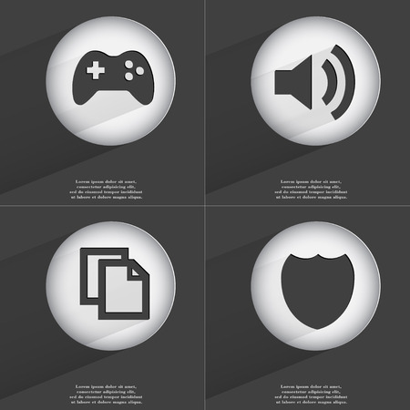 accelerated: Gamepad, Sound, Copy, Badge icon sign. Set of buttons with a flat design. Vector illustration