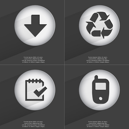 application recycle: Arrow directed down, Recycling, Task completed, Mobile phone icon sign. Set of buttons with a flat design. Vector illustration